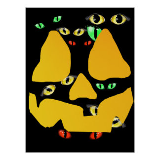 Pumpkin Face with Eyes  Poster