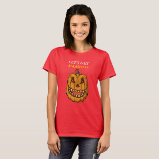 Pumpkin face with the saying Let's get smashed T-Shirt