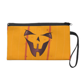 Pumpkin Face Wristlet Purse