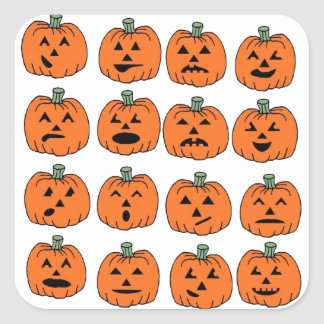Pumpkin Faces Expressions Fun Cute Halloween Square Sticker