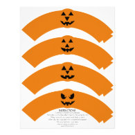 Pumpkin Faces Halloween Party Cupcake Wrappers Letterhead