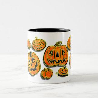 Pumpkin faces orange black Two-Tone coffee mug