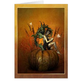 Pumpkin fae greeting card