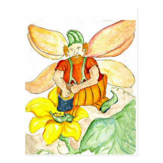 Pumpkin Fairy - Watercolor Pencil Postcard