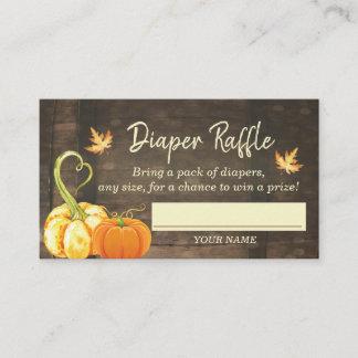 Pumpkin Fall Baby Shower Diaper Raffle Card
