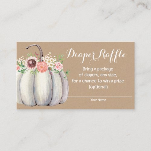 Pumpkin Fall Baby Shower Diaper Raffle Card