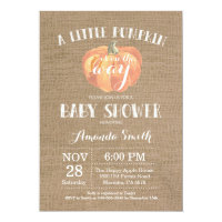 Pumpkin Fall Baby Shower Invitation Burlap