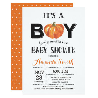 Pumpkin Fall Baby Shower Invitation Card