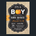 """Pumpkin Fall Baby Shower Invitation Card Burlap<br><div class=""""desc"""">Pumpkin Fall Baby Shower Invitation Card with burlap,  orange polka dots and chalkboard background. For further customization,  please click the &quot;Customize it&quot; button and use our design tool to modify this template.</div>"""
