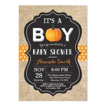 Halloween Themed Pumpkin Fall Baby Shower Invitation Card Burlap