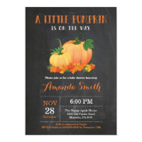 Pumpkin Fall Baby Shower Invitation Chalkboard