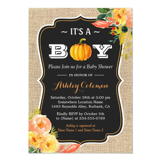Pumpkin Fall Baby Shower It's A Boy Rustic Burlap Card