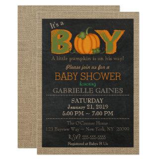 Pumpkin Fall Boy Baby Shower Country Invitation