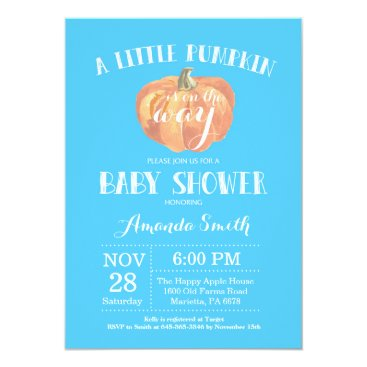 Halloween Themed Pumpkin Fall Boy Baby Shower Invitation Blue