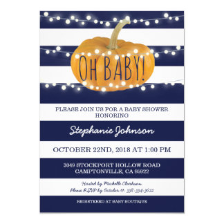 Pumpkin Fall Chic Baby Shower Card