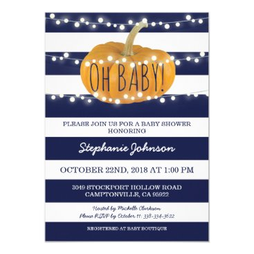 Halloween Themed Pumpkin Fall Chic Baby Shower Card