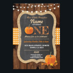 """Pumpkin Fall First Birthday Party ONE Wood Invite<br><div class=""""desc"""">Pumpkin 1st Birthday party rustic invite. Perfect for girls,  boy or twins. CHANGE THE TEXT TO SUIT YOUR PARTY &amp; Back print included.</div>"""