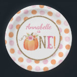 """Pumpkin Fall First Birthday Party Paper Plates<br><div class=""""desc"""">Pumpkin Fall First Birthday Party Paper Plates</div>"""