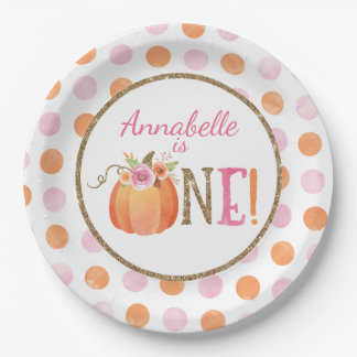 Pumpkin Fall First Birthday Party Paper Plates