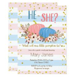 Pumpkin fall Gender Reveal invitation