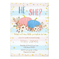 Pumpkin fall Gender Reveal invitation