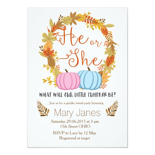 Pumpkin Fall Gender Reveal Invitation Zazzle Com