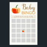 """Pumpkin Fall Rustic Baby BINGO Baby Shower Game Flyer<br><div class=""""desc"""">This is a perfect game to play at your next baby shower!</div>"""