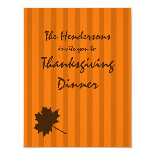 Pumpkin Fall Stripes Thanksgiving Dinner Invite 2