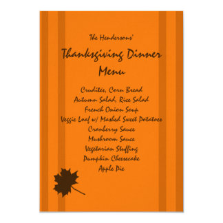 Pumpkin Fall Stripes Thanksgiving Dinner Menu Card