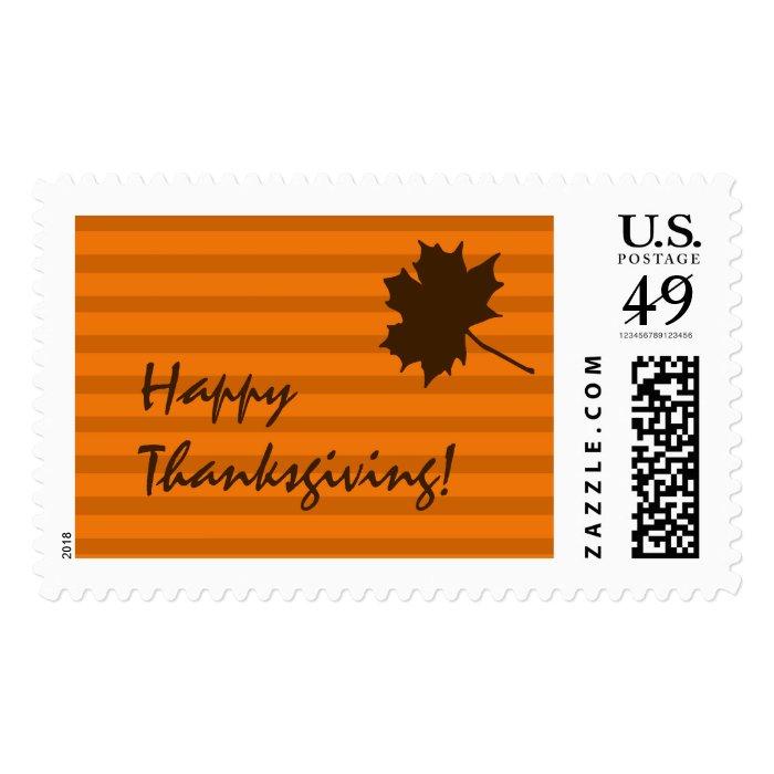 Pumpkin Fall Stripes Thanksgiving US Postage Stamp