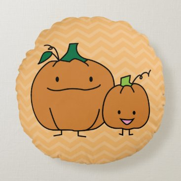 Halloween Themed Pumpkin family parent child kid Thanksgiving happy Round Pillow