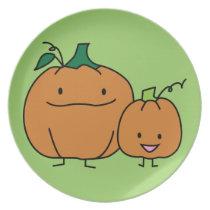 Pumpkin family parent child Thanksgiving Halloween Dinner Plate