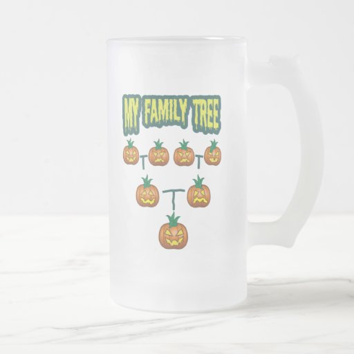 Pumpkin Family Tree 16 Oz Frosted Glass Beer Mug