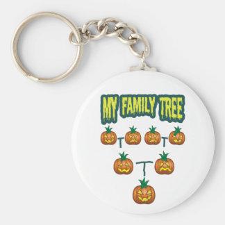 Pumpkin Family Tree Basic Round Button Keychain