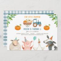 Pumpkin Farm Barnyard Fall Boy Party Birthday Invitation