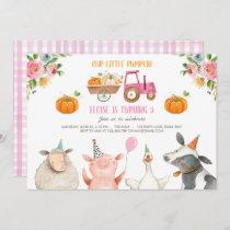 Pumpkin Farm Barnyard Fall Girl Party Birthday Invitation