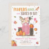 Pumpkin Farm Party Pink Tractor Birthday Party Invitation