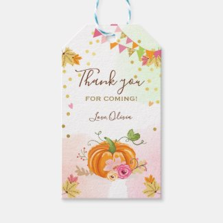 Pumpkin Favor Tags Autumn Fall Leaves Pink Floral