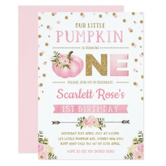 Pumpkin First 1st Birthday Invitation Pink & Gold
