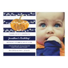 Pumpkin First Birthday | Autumn Fall Boy Blue Invitation