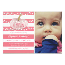 Pumpkin First Birthday | Autumn Fall Girl Pink Invitation