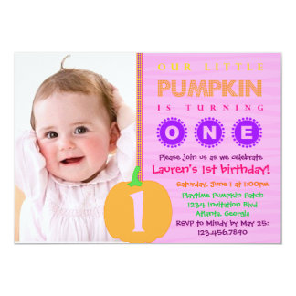 Pumpkin First Birthday Invitation