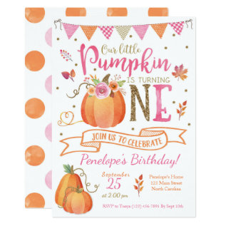 Pumpkin First Birthday Invitation, Autumn Fall Card at Zazzle