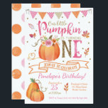 "Pumpkin First Birthday Invitation, Autumn Fall Invitation<br><div class=""desc"">This pink,  orange and gold pumpkin invitation is perfect for your little one&#39;s Fall/Autumn first birthday celebration!</div>"