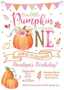 Birthday invitations zazzle pumpkin first birthday invitation autumn fall invitation filmwisefo