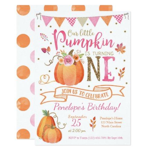 Pumpkin First Birthday Invitation Autumn Fall Invitation