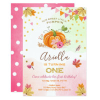 Pumpkin First birthday invitation Autumn Fall Pink