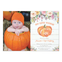 Pumpkin First Birthday Invitation Floral Rustic