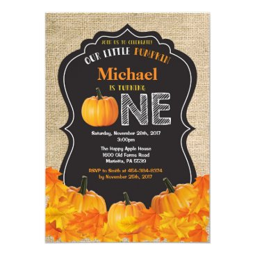 Halloween Themed Pumpkin First Birthday Invitation Orange Burlap