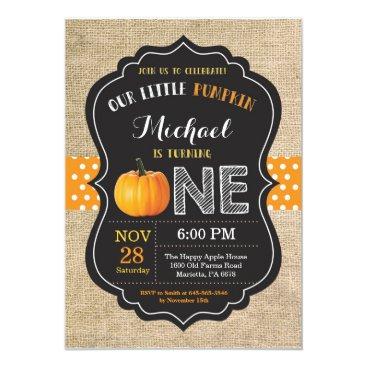 Halloween Themed Pumpkin First Birthday Invitation Orange Burlap